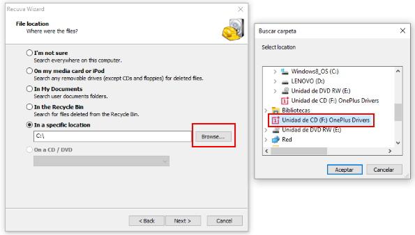 seleccionar ubicación del archivo a recuperar