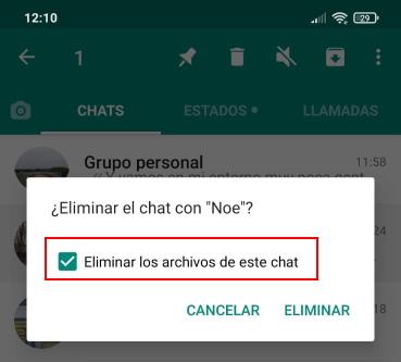 marcar borrar archivos multimedia de whatsapp